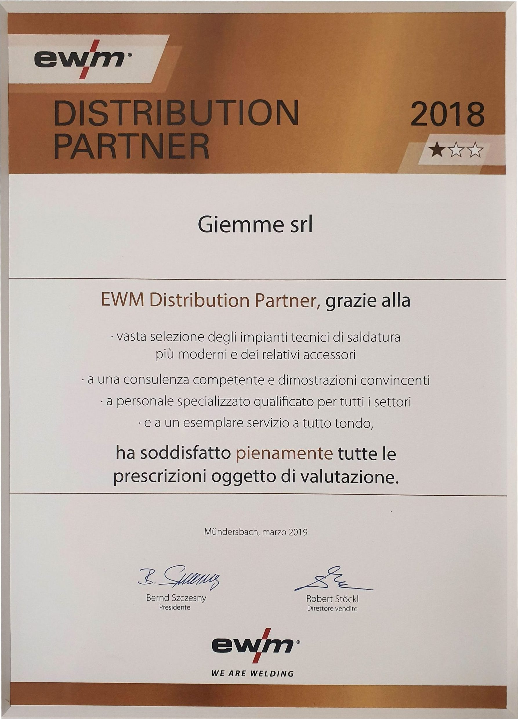 certificato EWM distrubution partner
